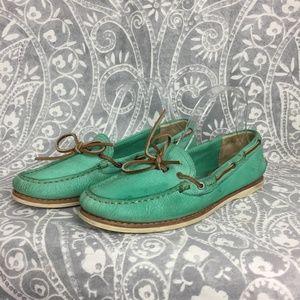 Frye Quincy Tie Boat Loafer  Mint Green Sunwash